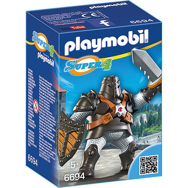 Конструктор Playmobil Супер 4 Черный КолоссПластмассовые конструкторы<br>Характеристики товара:<br><br>• возраст: от 5 лет;<br>• материал: пластик;<br>• в комплекте: фигурка, аксессуары;<br>• размер упаковки: 14,2х9,3х7 см;<br>• вес упаковки: 113 гр.;<br>• страна бренда: Германия.<br><br>Игровой набор «Супер 4: Черный Колосс» Playmobil создан по мотивам известного мультсериала «Суперчетверка». Набор включает в себя элементы для сборки рыцаря в доспехах. В руках у рыцаря меч и щит. Руки фигурки подвижны. Для хранения меча предусмотрены специальные ножны.<br><br>Игровой набор «Супер 4: Черный Колосс» Playmobil можно приобрести в нашем интернет-магазине.<br>Ширина мм: 142; Глубина мм: 70; Высота мм: 93; Вес г: 113; Возраст от месяцев: 60; Возраст до месяцев: 84; Пол: Мужской; Возраст: Детский; SKU: 7966019;