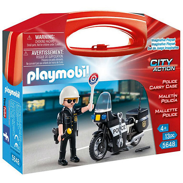 Конструктор Playmobil Возьми с собой ПолицияПластмассовые конструкторы<br>Характеристики товара:<br><br>• возраст: от 4 лет;<br>• материал: пластик;<br>• в комплекте: фигурка, мотоцикл, аксессуары;<br>• размер упаковки: 21х16,3х5,5 см;<br>• вес упаковки: 270 гр.;<br>• страна бренда: Германия.<br><br>Игровой набор «Возьми с собой: Полиция» Playmobil включает в себя фигурку отважного полицейского и его мотоцикл. У мотоцикла вращающиеся колеса, а у фигурки полицейского подвижные руки. Такие аксессуары, как пистолет, фонарик, дубинка, помогут разнообразить игровой процесс. Набор упакован в необычную упаковку в виде чемоданчика с ключом.<br><br>Игровой набор «Возьми с собой: Полиция» Playmobil можно приобрести в нашем интернет-магазине.<br>Ширина мм: 210; Глубина мм: 55; Высота мм: 163; Вес г: 270; Возраст от месяцев: 60; Возраст до месяцев: 84; Пол: Мужской; Возраст: Детский; SKU: 7966025;