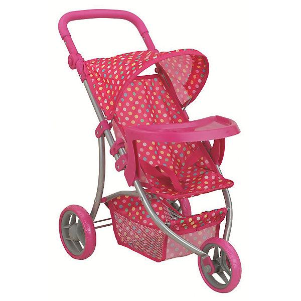 Коляска - трансформер Buggy Boom , розовый в разноцветный горошекТранспорт и коляски для кукол<br>Характеристики товара:<br><br>• возраст: от 3 лет;<br>• материал: полиэстер, пластик, металл;<br>• размер коляски: 59х34х64 см;<br>• диаметр колес: 15 см;<br>• высота ручки: 50-64 см;<br>• размер упаковки: 47х31х15 см;<br>• вес упаковки: 1,97 кг.<br><br>Коляска-трансформер для кукол Buggy Boom Nadin розовый в разноцветный горошек — трехколесная коляска для любимой куколки девочки. Коляска оснащена удобным мягким сидением для куклы, цельной ручкой управления, складным капюшоном. Ручка для управления регулируется по высоте под рост девочки. В сидении куколка пристегивается ремешком безопасности. На сидении перед куклой установлен пластиковый столик для кормления. Сидение выполнено из полиэстера, который легко моется по мере загрязнения. <br><br>Под сидением вместительная корзинка для вещей или игрушек. Небольшой вес коляски позволяет без труда управлять ей, выносить самостоятельно на прогулку и переносить. Для безопасности предусмотрена система защиты от случайного складывания. Рама выполнена из облегченного металла и устойчива к повреждениям. Коляска подойдет для кукол до 35 см.<br><br>Коляску-трансформер для кукол Buggy Boom Nadin розовую в разноцветный горошек можно приобрести в нашем интернет-магазине.<br>Ширина мм: 470; Глубина мм: 150; Высота мм: 310; Вес г: 1970; Цвет: розовый; Возраст от месяцев: 36; Возраст до месяцев: 60; Пол: Женский; Возраст: Детский; SKU: 7969175;