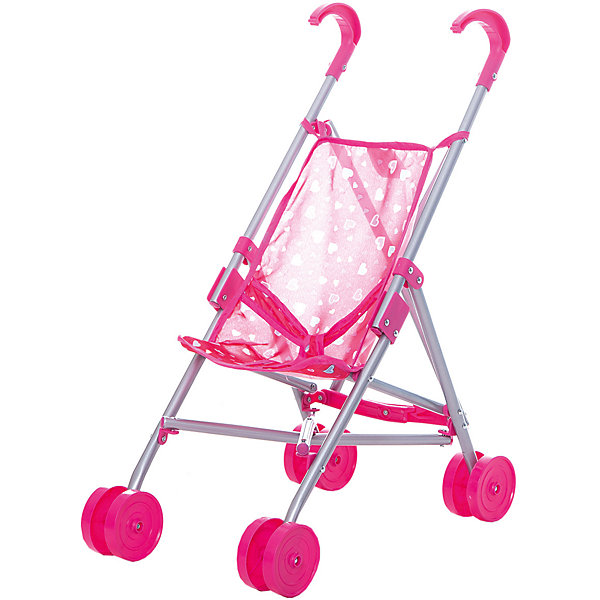 Купить Коляска-трость для кукол Buggy Boom, с сердечками, розовый с сердечками, Китай, Женский