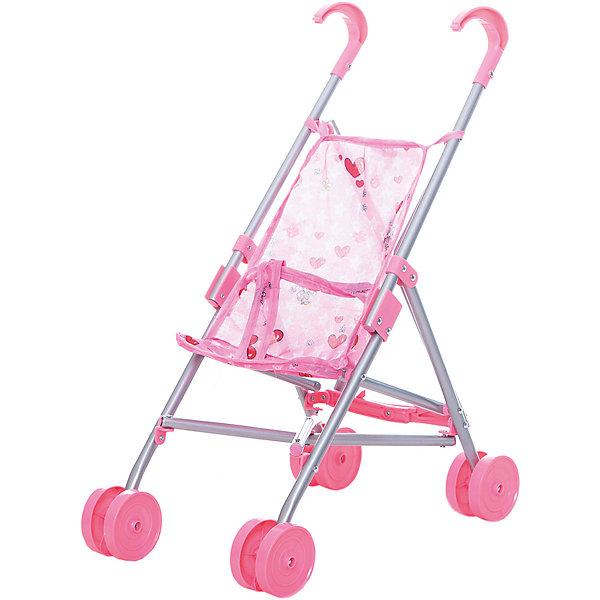 Купить Коляска-трость для кукол Buggy Boom, светло- с сердечками, светло-розовый с сердечками, Китай, Женский
