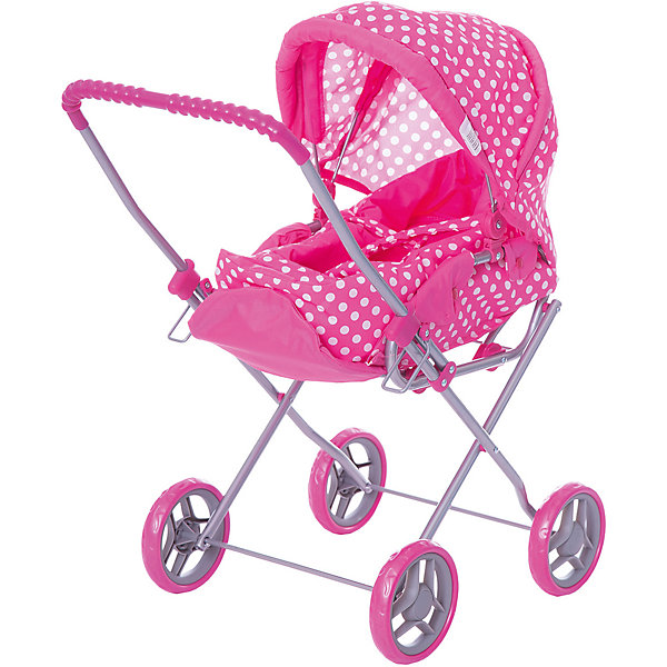 Коляска - трансформер Buggy Boom , розовый в горошекТранспорт и коляски для кукол<br>Характеристики товара:<br><br>• возраст: от 2 лет;<br>• материал: полиэстер, пластик, металл;<br>• в комплекте: коляска, переноска;<br>• размер коляски: 61х35х66 см;<br>• диаметр колес: 13 см;<br>• размер упаковки: 52х30х13 см;<br>• вес упаковки: 1,8 кг.<br><br>Коляска-трансформер для кукол Buggy Boom Mixy розовая в горошек — коляска для любимой куколки девочки, в комплекте к которой идет переноска с ручками. Переноска устанавливается прямо на сидение, при желании ее можно снять и трансформировать коляску в прогулочную.<br><br>У прогулочной коляски регулируемые спинка и подножка, большой капюшон. На сидении ремешки, при помощи которых куклу можно пристегнуть. Сидение выполнено из полиэстера, который легко моется по мере загрязнения. Небольшой вес коляски позволяет без труда управлять ей, выносить самостоятельно на прогулку и переносить. Рама выполнена из облегченного металла и устойчива к повреждениям. Коляска подойдет для кукол до 35 см.<br><br>Коляску-трансформер для кукол Buggy Boom Mixy розовую в горошек можно приобрести в нашем интернет-магазине.<br>Ширина мм: 520; Глубина мм: 300; Высота мм: 130; Вес г: 1800; Цвет: розовый; Возраст от месяцев: 24; Возраст до месяцев: 36; Пол: Женский; Возраст: Детский; SKU: 7969389;