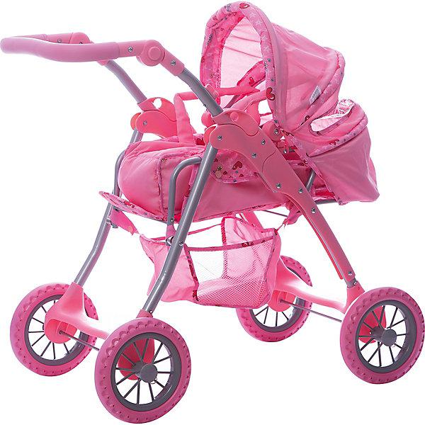 Коляска - трансформер Buggy Boom , светло-розовый с сердечкамиТранспорт и коляски для кукол<br>Характеристики товара:<br><br>• возраст: от 3 лет;<br>• материал: полиэстер, пластик, металл;<br>• в комплекте: коляска, переноска;<br>• размер коляски: 61х42х69 см;<br>• диаметр колес: 15 см;<br>• высота ручки: 50-70 см;<br>• размер упаковки: 59х37х18 см;<br>• вес упаковки: 4 кг.<br><br>Коляска-трансформер для кукол Buggy Boom Infinia светло-розовая с сердечками — коляска для любимой куколки девочки, в комплекте к которой идет переноска с ручками. Переноска устанавливается прямо на сидение, при желании ее можно снять и трансформировать коляску в прогулочную.<br><br>У прогулочной коляски регулируемая спинка, большой капюшон со смотровым окошком. На сидении ремешки, при помощи которых куклу можно пристегнуть. Сидение выполнено из полиэстера, который легко моется по мере загрязнения. Ручка для управления регулируется по высоте под рост девочки.<br><br>Под сидением расположена текстильная корзинка для перевозки вещей. Небольшой вес коляски позволяет без труда управлять ей, выносить самостоятельно на прогулку и переносить. Рама выполнена из облегченного металла и устойчива к повреждениям.<br><br>Коляска подойдет для кукол до 40 см.<br><br>Коляску-трансформер для кукол Buggy Boom Infinia светло-розовую с сердечками можно приобрести в нашем интернет-магазине.<br>Ширина мм: 590; Глубина мм: 180; Высота мм: 370; Вес г: 4000; Цвет: розовый; Возраст от месяцев: 36; Возраст до месяцев: 60; Пол: Женский; Возраст: Детский; SKU: 7969444;