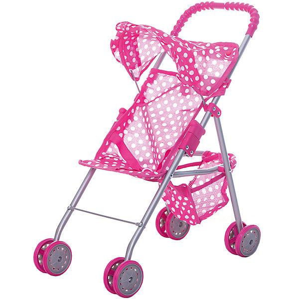 Коляска для кукол с козырьком Buggy Boom , розовый в горошекТранспорт и коляски для кукол<br>Характеристики товара:<br><br>• возраст: от 2 лет;<br>• материал: полиэстер, пластик, металл;<br>• размер коляски: 46х27х51 см;<br>• диаметр колес: 8 см;<br>• размер упаковки: 49х26х8 см;<br>• вес упаковки: 840 гр.<br><br>Коляска для кукол Buggy Boom Mixy розовая в горошек — легкая коляска для любимой куколки девочки, которая разнообразит игровой процесс. Коляска оснащена удобной ручкой для управления и сдвоенными колесами, отличающимися хорошей устойчивостью. Небольшой вес коляски позволяет без труда управлять ей, выносить самостоятельно на прогулку и переносить. Рама выполнена из облегченного металла и устойчива к повреждениям.<br><br>В сидении куклу можно пристегнуть ремешками безопасности. Сидение выполнено из полиэстера, который легко моется по мере загрязнения. На сидении небольшой складной козырек. За сидением расположена корзинка для вещей и мелочей. Коляска оснащена системой от случайного складывания, она складывается для хранения дома и переноски. Коляска подойдет для кукол до 35 см.<br><br>Коляску для кукол Buggy Boom Mixy розовую в горошек можно приобрести в нашем интернет-магазине.<br>Ширина мм: 490; Глубина мм: 260; Высота мм: 80; Вес г: 840; Цвет: розовый; Возраст от месяцев: 24; Возраст до месяцев: 36; Пол: Женский; Возраст: Детский; SKU: 7969452;