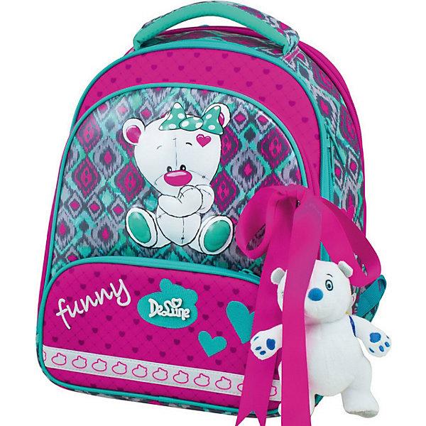 Купить Ранец DeLune 9-112 с мешком для обуви и пеналом + брелок-мишка, Италия, зеленый/розовый, Женский