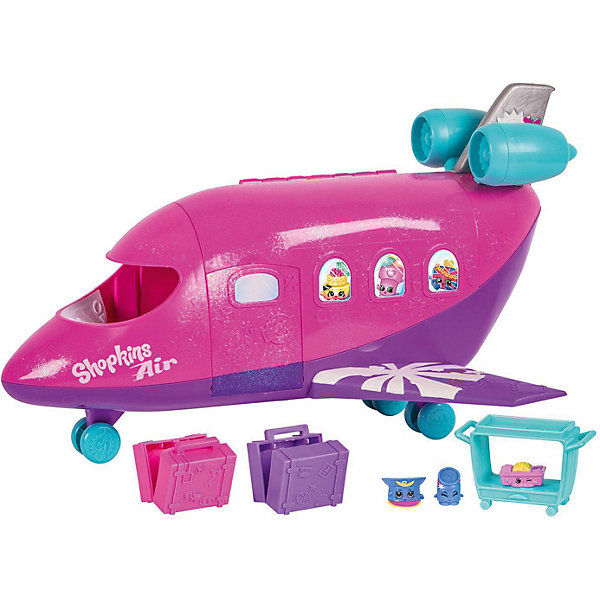 Игровой набор Moose Shopkins Самолёт, без куклыИгровые наборы с фигурками<br>Характеристики:<br><br>• возраст: от 5 лет;<br>• материал: пластик;<br>• в наборе: игровой набор с самолетом, 3 фигурки Shopkins, тележка для еды, 2 чемодана;<br>• вес упаковки: 1,59 кг.;<br>• размер упаковки: 31,5х13,5х42,5 см;<br>• страна бренда: Австралия.<br><br>Игровой набор Moose «Самолет Shopkins» предназначен для куколок Shoppies из серии World vacation (продаются отдельно). Красочный самолет имеет опускаемый трап. Корпус судна открывается сбоку, чтобы можно было посадить кукол.<br><br>Аксессуары, входящие в набор, воссоздают атмосферу путешествия. Три эксклюзивных фигурки Shopkins пополнят коллекцию ребенка. Выполнено из качественных безопасных материалов.<br><br>Игровой набор «Самолет Shopkins» (без куклы) можно купить в нашем интернет-магазине.<br>Ширина мм: 315; Глубина мм: 135; Высота мм: 425; Вес г: 1590; Цвет: розовый; Возраст от месяцев: 60; Возраст до месяцев: 2147483647; Пол: Женский; Возраст: Детский; SKU: 7979628;