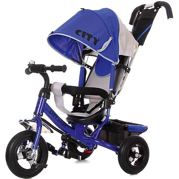 Трехколесный велосипед City надувные колеса 8/10, синийВелосипеды и аксессуары<br>Характеристики:<br><br>• цвет: синий<br>• велосипед-коляска для детей старше 1 года;<br>• регулируемая спинка, 3 положения;<br>• глубокий регулируемый капор с фиксаторами положения;<br>• складные подножки, которые можно снять;<br>• 3-х точечный ремень безопасности;<br>• защитная разъемная дуга;<br>• телескопическая родительская ручка управления;<br>• регулируется в 2-х положениях: 104 и 108 см;<br>• защита от люфта;<br>• сумка-кармашек на ручке;<br>• надувные колеса;<br>• стояночный тормоз;<br>• звонок на руле;<br>• корзина для игрушек;<br>• допустимый вес ребенка: 30 кг;<br>• минимальный рост: 70 см;<br>• размер велосипеда: 81х51х102 см;<br>• вес велосипеда: 10,6 кг;<br>• размер сиденья: 23х20 см;<br>• диаметр колес 8 и 10 дюймов;<br>• материал: металл, пластик, полиэстер.<br><br>Функциональный велосипед-коляска оборудован ремнями безопасности, страховочным ободом и складными подножками. Регулируется наклон сиденья, высота родительской ручки, положение капюшона. Складная колясочная крыша защищает от солнечных лучей и небольших осадков. Благодаря надувным колесам обеспечен плавный ход велосипеда по неровной поверхности. <br><br>Трехколесный велосипед City надувные колеса 8/10,  синий можно купить в нашем интернет-магазине.<br>Ширина мм: 600; Глубина мм: 410; Высота мм: 300; Вес г: 11600; Цвет: синий; Возраст от месяцев: 144; Возраст до месяцев: 36; Пол: Мужской; Возраст: Детский; SKU: 7980212;