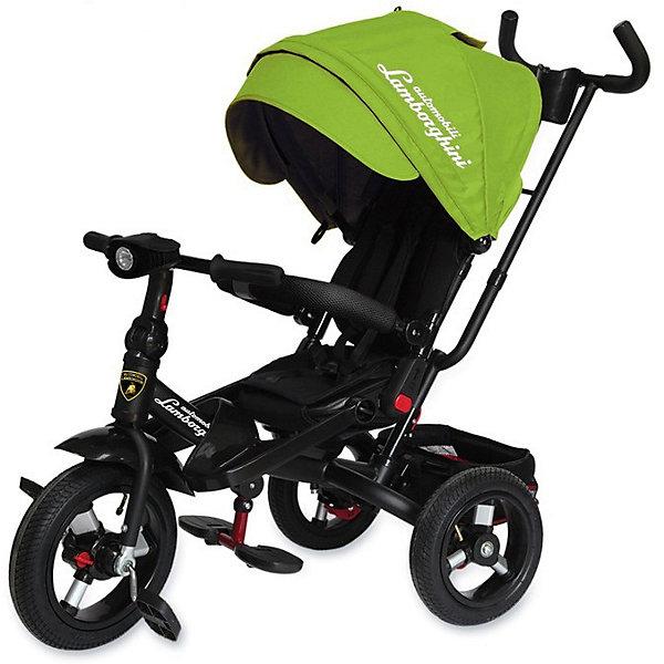 Трехколесный велосипед Lamborghini колеса 10/12, зеленыйВелосипеды детские<br>Характеристики:<br><br>• цвет: салатовый<br>• 3-х колесный велосипед-трансформер с функциями детской коляски;<br>• для детей от 1 года;<br>• устойчивая конструкция;<br>• регулируемое положение спинки, 15-20 градусов;<br>• поворотное мягкое сиденье;<br>• 5-ти точечные ремни безопасности;<br>• бампер безопасности с мягкими подлокотниками;<br>• складные подставки для ног;<br>• дополнительные подножки для малышей;<br>• складная фара со звуком и светодиодными лампочками;<br>• регулируемая высота руля;<br>• регулируемая ручка управления с подстаканником;<br>• складной капюшон с фиксаторами положения;<br>• капор оборудован солнцезащитным козырьком (отстегивается) и смотровым окошком под клапаном;<br>• имеется корзинка для игрушек;<br>• тормоз задних колес;<br>• свободный ход колес;<br>• диаметр колес 10 и 12 дюймов;<br>• материал: металлическая рама, пластиковые педали, надувные фактурные колеса, мягкий вкладыш-кенгуру.<br><br>Велосипед-трансформер для детей старше 12 месяцев, которые уверенно сидят. <br><br>Используется в 3-х позициях:<br><br>1. Велосипед-коляска с ремнями безопасности, страховочным ободом и специальной подножкой для малышей. Оборудован родительской ручкой управления и глубоким капором с солнцезащитным козырьком. Сиденье детского велосипеда разворачивается на 360 градусов, имеется мягкая спинка. <br><br>2. Велосипед с родительской ручкой, сиденьем чашеобразной формы, корзиной для игрушек и пластиковыми подножками для ребенка.<br><br>3. Типичный 3-х колесный велосипед с функциональным рулем и пластиковыми педалями. <br><br>Трехколесный велосипед Lamborghini колеса 10/12, зеленый можно купить в нашем интернет-магазине.<br>Ширина мм: 600; Глубина мм: 410; Высота мм: 300; Вес г: 14100; Цвет: зеленый; Возраст от месяцев: 144; Возраст до месяцев: 36; Пол: Унисекс; Возраст: Детский; SKU: 7980214;