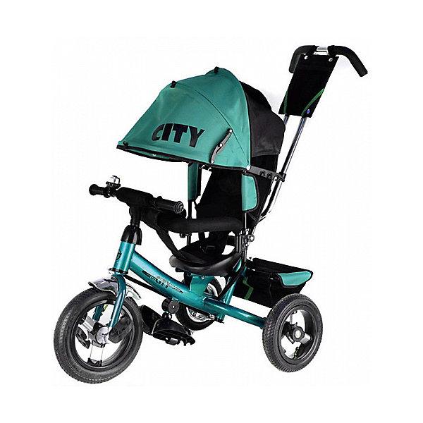 Трехколесный велосипед City надувные колеса 8/10, бирюзовыйВелосипеды детские<br>Характеристики:<br><br>• цвет: бирюзовый<br>• велосипед-коляска для детей старше 1 года;<br>• регулируемая спинка, 3 положения;<br>• глубокий регулируемый капор с фиксаторами положения;<br>• складные подножки, которые можно снять;<br>• 3-х точечный ремень безопасности;<br>• защитная разъемная дуга;<br>• телескопическая родительская ручка управления;<br>• регулируется в 2-х положениях: 104 и 108 см;<br>• защита от люфта;<br>• сумка-кармашек на ручке;<br>• надувные колеса;<br>• стояночный тормоз;<br>• звонок на руле;<br>• корзина для игрушек;<br>• допустимый вес ребенка: 30 кг;<br>• минимальный рост: 70 см;<br>• размер велосипеда: 81х51х102 см;<br>• вес велосипеда: 10,6 кг;<br>• размер сиденья: 23х20 см;<br>• диаметр колес 8 и 10 дюймов;<br>• материал: металл, пластик, полиэстер.<br><br>Функциональный велосипед-коляска оборудован ремнями безопасности, страховочным ободом и складными подножками. Регулируется наклон сиденья, высота родительской ручки, положение капюшона. Складная колясочная крыша защищает от солнечных лучей и небольших осадков. Благодаря надувным колесам обеспечен плавный ход велосипеда по неровной поверхности. <br><br>Трехколесный велосипед City надувные колеса 8/10, бирюзовый можно купить в нашем интернет-магазине.<br>Ширина мм: 600; Глубина мм: 410; Высота мм: 300; Вес г: 11600; Цвет: бирюзовый; Возраст от месяцев: 144; Возраст до месяцев: 36; Пол: Унисекс; Возраст: Детский; SKU: 7980230;