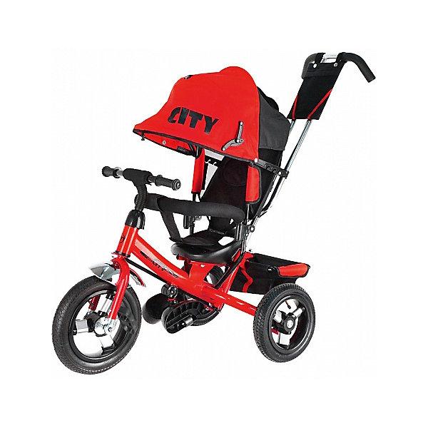 Трехколесный велосипед City надувные колеса 8/10, красныйВелосипеды детские<br>Характеристики:<br><br>• цвет: красный<br>• велосипед-коляска для детей старше 1 года;<br>• регулируемая спинка, 3 положения;<br>• глубокий регулируемый капор с фиксаторами положения;<br>• складные подножки, которые можно снять;<br>• 3-х точечный ремень безопасности;<br>• защитная разъемная дуга;<br>• телескопическая родительская ручка управления;<br>• регулируется в 2-х положениях: 104 и 108 см;<br>• защита от люфта;<br>• сумка-кармашек на ручке;<br>• надувные колеса;<br>• стояночный тормоз;<br>• звонок на руле;<br>• корзина для игрушек;<br>• допустимый вес ребенка: 30 кг;<br>• минимальный рост: 70 см;<br>• размер велосипеда: 81х51х102 см;<br>• вес велосипеда: 10,6 кг;<br>• размер сиденья: 23х20 см;<br>• диаметр колес 8 и 10 дюймов;<br>• материал: металл, пластик, полиэстер.<br><br>Функциональный велосипед-коляска оборудован ремнями безопасности, страховочным ободом и складными подножками. Регулируется наклон сиденья, высота родительской ручки, положение капюшона. Складная колясочная крыша защищает от солнечных лучей и небольших осадков. Благодаря надувным колесам обеспечен плавный ход велосипеда по неровной поверхности. <br><br>Трехколесный велосипед City надувные колеса 8/10, красный можно купить в нашем интернет-магазине.<br>Ширина мм: 600; Глубина мм: 410; Высота мм: 300; Вес г: 11600; Цвет: красный; Возраст от месяцев: 144; Возраст до месяцев: 36; Пол: Унисекс; Возраст: Детский; SKU: 7980232;