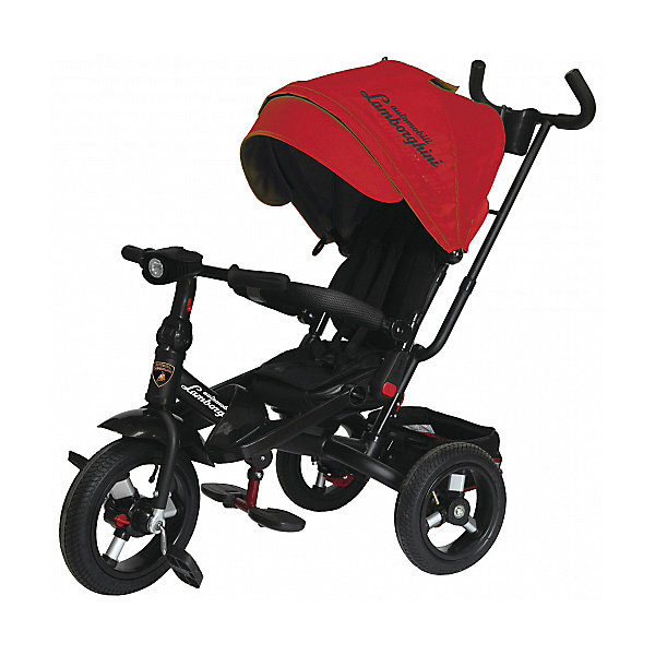 Трехколесный велосипед Lamborghini колеса 10/12, красныйВелосипеды и аксессуары<br>Характеристики:<br><br>• цвет: красный<br>• 3-х колесный велосипед-трансформер с функциями детской коляски;<br>• для детей от 1 года;<br>• устойчивая конструкция;<br>• регулируемое положение спинки, 15-20 градусов;<br>• поворотное мягкое сиденье;<br>• 5-ти точечные ремни безопасности;<br>• бампер безопасности с мягкими подлокотниками;<br>• складные подставки для ног;<br>• дополнительные подножки для малышей;<br>• складная фара со звуком и светодиодными лампочками;<br>• регулируемая высота руля;<br>• регулируемая ручка управления с подстаканником;<br>• складной капюшон с фиксаторами положения;<br>• капор оборудован солнцезащитным козырьком (отстегивается) и смотровым окошком под клапаном;<br>• имеется корзинка для игрушек;<br>• тормоз задних колес;<br>• свободный ход колес;<br>• диаметр колес 10 и 12 дюймов;<br>• материал: металлическая рама, пластиковые педали, надувные фактурные колеса, мягкий вкладыш-кенгуру.<br><br>Велосипед-трансформер для детей старше 12 месяцев, которые уверенно сидят. <br><br>Используется в 3-х позициях:<br><br>1. Велосипед-коляска с ремнями безопасности, страховочным ободом и специальной подножкой для малышей. Оборудован родительской ручкой управления и глубоким капором с солнцезащитным козырьком. Сиденье детского велосипеда разворачивается на 360 градусов, имеется мягкая спинка. <br><br>2. Велосипед с родительской ручкой, сиденьем чашеобразной формы, корзиной для игрушек и пластиковыми подножками для ребенка.<br><br>3. Типичный 3-х колесный велосипед с функциональным рулем и пластиковыми педалями. <br><br>Трехколесный велосипед Lamborghini колеса 10/12, красный можно купить в нашем интернет-магазине.<br>Ширина мм: 600; Глубина мм: 410; Высота мм: 300; Вес г: 14100; Цвет: красный; Возраст от месяцев: 144; Возраст до месяцев: 36; Пол: Унисекс; Возраст: Детский; SKU: 7980234;