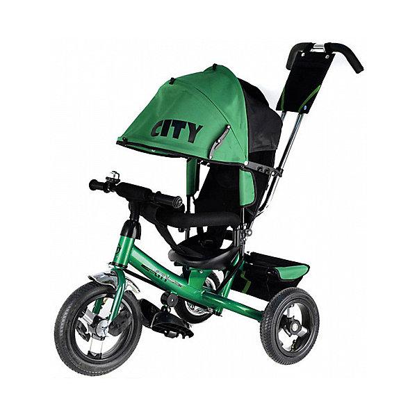 Трехколесный велосипед City пластиковые колеса 8/10, зеленыйВелосипеды и аксессуары<br>Характеристики:<br><br>• цвет: зеленый<br>• велосипед-коляска для детей старше 1 года;<br>• регулируемая спинка, 3 положения;<br>• глубокий регулируемый капор с фиксаторами положения;<br>• складные подножки, которые можно снять;<br>• 3-х точечный ремень безопасности;<br>• защитная разъемная дуга;<br>• телескопическая родительская ручка управления;<br>• регулируется в 2-х положениях: 104 и 108 см;<br>• защита от люфта;<br>• сумка-кармашек на ручке;<br>• пластиковые колеса;<br>• стояночный тормоз;<br>• звонок на руле;<br>• корзина для игрушек;<br>• допустимый вес ребенка: 20-25 кг;<br>• минимальный рост: 70 см;<br>• размер велосипеда: 81х51х102 см;<br>• вес велосипеда: 10,6 кг;<br>• размер сиденья: 23х20 см;<br>• диаметр колес 8 и 10 дюймов;<br>• материал: металл, пластик, полиэстер.<br><br>Функциональный велосипед-коляска City оборудован ремнями безопасности, страховочным ободом и складными подножками. Регулируется наклон сиденья, высота родительской ручки, положение капюшона. Складная колясочная крыша защищает от солнечных лучей и небольших осадков. Колеса у велосипеда пластиковые, переднее колесо большего диаметра.<br><br>Трехколесный велосипед City пластиковые колеса 8/10, зеленый можно купить в нашем интернет-магазине.<br>Ширина мм: 600; Глубина мм: 410; Высота мм: 300; Вес г: 12400; Цвет: зеленый; Возраст от месяцев: 144; Возраст до месяцев: 36; Пол: Унисекс; Возраст: Детский; SKU: 7980236;