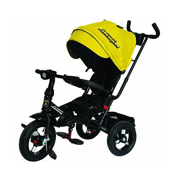 Трехколесный велосипед Lamborghini колеса 10/12, желтыйВелосипеды и аксессуары<br>Характеристики:<br><br>• цвет: желтый<br>• 3-х колесный велосипед-трансформер с функциями детской коляски;<br>• для детей от 1 года;<br>• устойчивая конструкция;<br>• регулируемое положение спинки, 15-20 градусов;<br>• поворотное мягкое сиденье;<br>• 5-ти точечные ремни безопасности;<br>• бампер безопасности с мягкими подлокотниками;<br>• складные подставки для ног;<br>• дополнительные подножки для малышей;<br>• складная фара со звуком и светодиодными лампочками;<br>• регулируемая высота руля;<br>• регулируемая ручка управления с подстаканником;<br>• складной капюшон с фиксаторами положения;<br>• капор оборудован солнцезащитным козырьком (отстегивается) и смотровым окошком под клапаном;<br>• имеется корзинка для игрушек;<br>• тормоз задних колес;<br>• свободный ход колес;<br>• диаметр колес 10 и 12 дюймов;<br>• материал: металлическая рама, пластиковые педали, надувные фактурные колеса, мягкий вкладыш-кенгуру.<br><br>Велосипед-трансформер для детей старше 12 месяцев, которые уверенно сидят. <br><br>Используется в 3-х позициях:<br><br>1. Велосипед-коляска с ремнями безопасности, страховочным ободом и специальной подножкой для малышей. Оборудован родительской ручкой управления и глубоким капором с солнцезащитным козырьком. Сиденье детского велосипеда разворачивается на 360 градусов, имеется мягкая спинка. <br><br>2. Велосипед с родительской ручкой, сиденьем чашеобразной формы, корзиной для игрушек и пластиковыми подножками для ребенка.<br><br>3. Типичный 3-х колесный велосипед с функциональным рулем и пластиковыми педалями. <br><br>Трехколесный велосипед Lamborghini колеса 10/12,  желтый можно купить в нашем интернет-магазине.<br>Ширина мм: 600; Глубина мм: 410; Высота мм: 300; Вес г: 14100; Цвет: желтый; Возраст от месяцев: 144; Возраст до месяцев: 36; Пол: Унисекс; Возраст: Детский; SKU: 7980240;