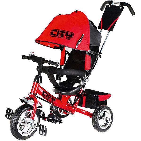 Трехколесный велосипед City пластиковые колеса 8/10, красныйВелосипеды детские<br>Велосипед-коляска, 3-хколес.,пластик. колеса 10и 8,с руч.управ.,наклонная спинка имеет 3 положения,звонок,корзина,стояночный тормоз,склад.подножки<br>Трехколесные велосипеды Сити, это велосипеды ничем не уступающие своим дорогим аналогам. Пластиковые колеса 10 и 8.<br>Родительская ручка управления велосипедом - телескопическая с защитой от люфта и небольшой сумочкой для мелочей.<br>Прочная и довольно легкая конструкци, расчитана на вес ребенка до (20-25 кг)<br>Складная колясочная крыша с принтом (логотип), выполнена из плотной ткани, защищает от солнца и от дождя<br>Наклонная спинка сиденья имеет 3 положения<br>Разъемная дуга и трехточечный ремень безопасности, обеспечивают фиксацию ребенка во время движения.<br>Стояночный тормоз задних колес<br>Складные подножки, которые при необходимости можно снять<br>Вместительная корзина-багажник для игрушек<br>Звонок на руле<br>Ширина мм: 600; Глубина мм: 410; Высота мм: 300; Вес г: 12400; Цвет: красный; Возраст от месяцев: 144; Возраст до месяцев: 36; Пол: Унисекс; Возраст: Детский; SKU: 7980242;