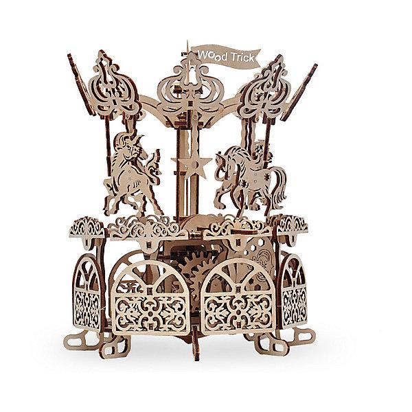 Сборная модель Wood Trick КарусельДеревянные модели<br>Характеристики:<br><br>• возраст: от 14 лет;<br>• материал: дерево;<br>• количество деталей: 197;<br>• вес упаковки: 800 гр.;<br>• размер упаковки: 37х18х3 см;<br>• страна производитель: Украина.<br><br>Сборная модель Wood Trick Карусель представляет собой действующую уменьшенную модель настоящей карусели. Она работает без батареек, вращаясь и кружась как самая настоящая карусель из нашего детства. Ваш ребенок наверняка захочет узнать побольше о том, как же она работает, что в конечном итоге позволит раскрыть его творческий потенциал и привить интерес к проектированию и технике!<br><br>Изделие выполнено из гладкой березовой фанеры, не имеющей заусенцев, поэтому удобно для покраски и безопасно для сборки.<br><br>Сборная модель Wood Trick Карусель  можно купить в нашем интернет-магазине.<br>Ширина мм: 370; Глубина мм: 185; Высота мм: 35; Вес г: 800; Цвет: бежевый; Возраст от месяцев: 168; Возраст до месяцев: 1188; Пол: Унисекс; Возраст: Детский; SKU: 7980850;
