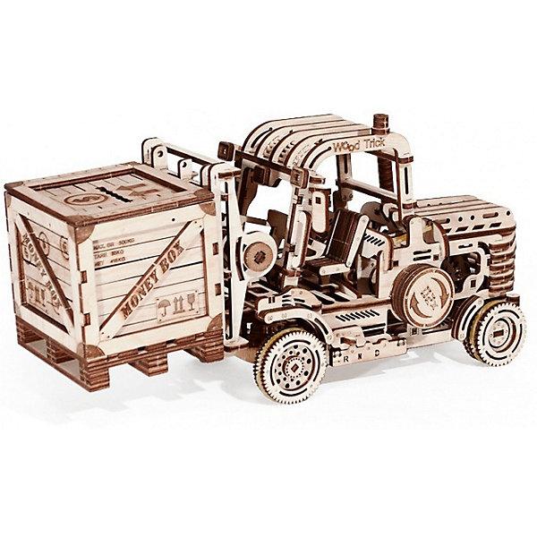 Сбоная модель  Wood Trick ПогрузчикДеревянные модели<br>Характеристики:<br><br>• возраст: от 14 лет;<br>• материал: дерево;<br>• количество деталей: 385;<br>• вес упаковки: 1000 гр.;<br>• размер упаковки: 37х18х3 см;<br>• страна производитель: Украина.<br><br>Мощный подъемник – это уникальная модель автопогрузчика, которая имеет механическую основу и переключатель скоростей. В комплект сборки входят три конструктора: основная модель погрузчика, поддон и копилка.<br><br>Много подвижных механизмов позволяет не только управлять машиной, но и регулировать высоту вил для подъема и перевозки груза. С помощью специального поддона, который идет в комплекте, вы можете водружать и перевозить различные предметы. Усовершенствованная модель двигателя способна заводить механизмы и помогать погрузчику преодолевать значительные расстояния на разных скоростях.<br><br>Изделие выполнено из гладкой березовой фанеры, не имеющей заусенцев, поэтому удобно для покраски и безопасно для сборки.<br><br>Сбоная модель  Wood Trick Погрузчик можно купить в нашем интернет-магазине.<br>Ширина мм: 370; Глубина мм: 185; Высота мм: 35; Вес г: 1500; Цвет: бежевый; Возраст от месяцев: 168; Возраст до месяцев: 1188; Пол: Унисекс; Возраст: Детский; SKU: 7980878;