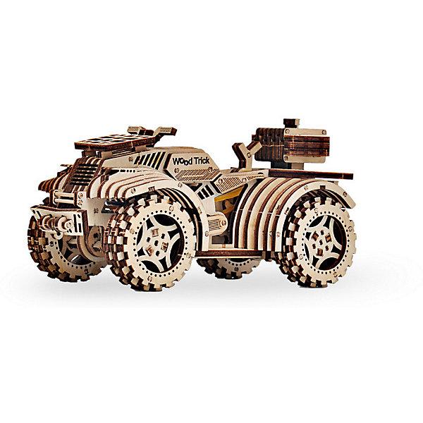 Сборная модель Wood Trick КвадроциклДеревянные модели<br>Характеристики:<br><br>• возраст: от 14 лет;<br>• материал: дерево;<br>• количество деталей: 165;<br>• вес упаковки: 800 гр.;<br>• размер упаковки: 37х18х3 см;<br>• страна производитель: Украина.<br><br>Сборная модель Wood Trick Квадроцикл состоит из 165 деталей, с его сборкой справится как взрослый, так и ребенок, тем более, что к набору прилагается простая и понятная инструкция. Внимательно ознакомьтесь с инструкцией по сборке, и вы сможете легко собрать собственную модель квадроцикла!<br><br>Изделие выполнено из гладкой березовой фанеры, не имеющей заусенцев, поэтому удобно для покраски и безопасно для сборки.<br><br>Сборная модель Wood Trick Квадроцикл  можно купить в нашем интернет-магазине.<br>Ширина мм: 370; Глубина мм: 185; Высота мм: 35; Вес г: 800; Цвет: бежевый; Возраст от месяцев: 168; Возраст до месяцев: 1188; Пол: Унисекс; Возраст: Детский; SKU: 7980894;