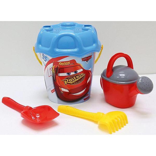 Набор игрушек для песочницы Полесье Disney Pixar Тачки» № 27, 5 предметовТачки<br>Характеристики:<br><br>• возраст: от 3 лет;<br>• материал: пластик;<br>• комплектация: ведро большое с наклейкой, ситечко большое №3, лопата №6, грабли №6, лейка №8;<br>• размер: 21х40,5х25,2см;<br>• вес: 430 гр;<br>• упаковка: сетка;<br>• страна бренда: Беларусь;<br>• бренд: Полесье.<br><br>Набор Disney/Pixar «Тачки» №27 порадует детей от 3 лет и старше. Он включает в себя нескольких формочек и видов «копательных» инструментов, большого ведра хватит на всех. Детишки обожают играть в песок, значит, есть идея, как их занять. Набор легко моется, изготовлен он из пластмассы, не содержит токсичных веществ. Яркие наклейки на некоторых элементах набора привлекут внимание ребенка, заинтересуют в продолжении игры.<br><br>Набор Disney/Pixar «Тачки» №27 можно купить в нашем интернет-магазине.<br>Ширина мм: 225; Глубина мм: 210; Высота мм: 405; Вес г: 430; Цвет: разноцветный; Возраст от месяцев: 36; Возраст до месяцев: 2147483647; Пол: Мужской; Возраст: Детский; SKU: 7992085;