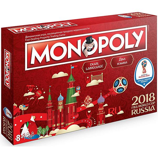 Настольная игра FIFA-2018 1Toy МонополияЭкономические настольные игры<br>Характеристики:<br><br>• возраст: от 3 лет;<br>• материал: пластик, бумага;;<br>• вес: 1,1 кг;<br>• размер: 40х25,5х5 см;<br>• страна бренда: Китай;<br>• бренд: 1Toy.<br><br>Игра настольная 1Toy «Монополия» 40х25,5х5 см - отличный подарок всем любителям футбола! Она с головой захватит всех ценителей экономических стратегий и почитателей этого вида спорта. Традиционные поля теперь представляют одну из стран-участниц чемпионата мира по футболу в России, а вместо полей «шанс» и «общественная казна» – кубок и красные и желтые карточки. Правила и цель игры остаются прежними, но в комплект входит эксклюзивная фигурка талисмана чемпионата – волка Забиваки.<br><br>Игру настольную 1Toy «Монополия» 40х25,5х5 см можно купить в нашем интернет-магазине.<br>Ширина мм: 255; Глубина мм: 50; Высота мм: 400; Вес г: 1100; Цвет: разноцветный; Возраст от месяцев: 36; Возраст до месяцев: 2147483647; Пол: Унисекс; Возраст: Детский; SKU: 7992172;