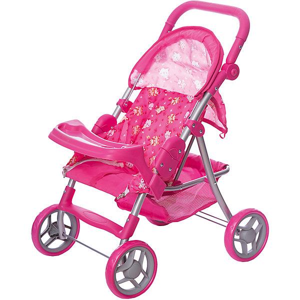 Купить Коляска-трансформер для кукол Buggy Boom cерия Скайна (Skyna), розовая с кошками, Китай, розовый/розовый, Женский
