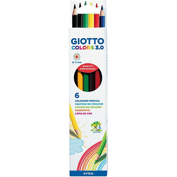 Цветные карандаши GIOTTO, 6 штукПисьменные принадлежности<br>Характеристики товара:<br><br>• возраст: от 3 лет;<br>• материал: дерево;<br>• размер упаковки: 23х6х2см;<br>• вес упаковки: 35 гр.;<br>• страна бренда: Италия.<br><br>Набор карандашей гексагональной формы Giotto Colors 3.0 состоит из 6 цветов. Изготовлены карандаши из сертифицированной древесины. Легко и экономично затачиваются, не крошатся. Толщина грифеля 3 мм. Яркие насыщенные цвета, мягкое рисование. На корпусе карандаша имеется место для персонализации. Идеально подходят для школы.<br><br>Цветные карандаши GIOTTO можно купить в нашем интернет-магазине.<br>Ширина мм: 217; Глубина мм: 46; Высота мм: 8; Вес г: 33; Цвет: разноцветный; Возраст от месяцев: 36; Возраст до месяцев: 2147483647; Пол: Унисекс; Возраст: Детский; SKU: 8004655;