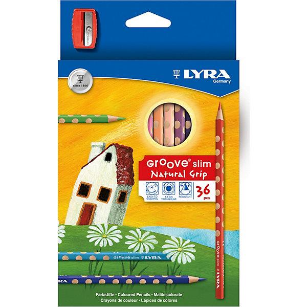 Цветные карандаши GROOVE с эргономичными выемками, 36 цветовЦветные<br>Характеристики товара:<br><br>• возраст: от 3 лет;<br>• материал: дерево;<br>• размер упаковки: 22х9х1 см;<br>• вес упаковки: 265 гр.;<br>• страна бренда: Италия.<br><br>Цветные карандаши Lyra Groove Slim непременно, понравятся вашему юному художнику. Набор включает в себя 36 ярких насыщенных цветных карандаша треугольной формы с эргономичным захватом. Идеальны для раннего развития ребенка. Карандаши изготовлены из натурального сертифицированного дерева, экологически чистые. Имеют ударопрочный неломающийся высокопигментный грифель, не требующий сильного нажатия и легко затачиваются.<br><br>Цветные карандаши GROOVE с эргономичными выемками можно купить в нашем интернет-магазине.<br>Ширина мм: 136; Глубина мм: 22; Высота мм: 228; Вес г: 265; Цвет: разноцветный; Возраст от месяцев: 36; Возраст до месяцев: 2147483647; Пол: Унисекс; Возраст: Детский; SKU: 8004673;