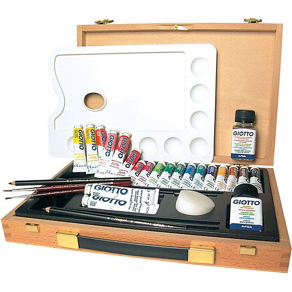 Набор для художника GIOTTO с аксессуарами, 12 цветовХудожественные наборы<br>Характеристики товара:<br><br>• возраст: от 3 лет;<br>• в комплекте: гуашь 12 цветов по 7,5 мл., кисти 2 шт., карандаш угольный 1 шт., лак, палитра;<br>• размер упаковки: 35х23х5 см;<br>• вес упаковки: 1440 гр.;<br>• страна бренда: Италия.<br><br>Набор для художника GIOTTO с аксессуарами непременно порадует юного художника. Мастер сможет нарисовать живописную картину или портрет. В деревянном чемоданчике предусмотрено все самое необходимое для рисования. На специальной палитре можно смешивать различные цвета, создавать новые красочные и фантастические оттенки.<br><br>Набор для художника GIOTTO с аксессуарами можно купить в нашем интернет-магазине.<br>Ширина мм: 280; Глубина мм: 187; Высота мм: 50; Вес г: 896; Цвет: разноцветный; Возраст от месяцев: 36; Возраст до месяцев: 2147483647; Пол: Унисекс; Возраст: Детский; SKU: 8004695;