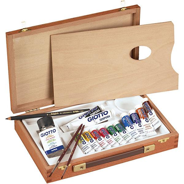 Набор для художника GIOTTO с аксессуарами, 10 цветовХудожественные наборы<br>Характеристики товара:<br><br>• возраст: от 3 лет;<br>• в комплекте: гуашь 10 цветов по 7,5 мл., кисти 2 шт., карандаш угольный 1 шт., лак, палитра;<br>• размер упаковки: 33х23х5 см;<br>• вес упаковки: 1425 гр.;<br>• страна бренда: Италия.<br><br>Набор для художника GIOTTO с аксессуарами непременно порадует юного художника. Мастер сможет нарисовать живописную картину или портрет. В деревянном чемоданчике предусмотрено все самое необходимое для рисования. На специальной палитре можно смешивать различные цвета, создавать новые красочные и фантастические оттенки.<br><br>Набор для художника GIOTTO с аксессуарами можно купить в нашем интернет-магазине.<br>Ширина мм: 335; Глубина мм: 233; Высота мм: 50; Вес г: 1425; Цвет: разноцветный; Возраст от месяцев: 36; Возраст до месяцев: 2147483647; Пол: Унисекс; Возраст: Детский; SKU: 8004697;