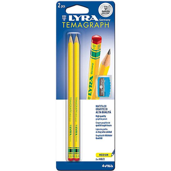 Чернографитные карандаши LYRA с точилкой, 2 штукиЧернографитные<br>Характеристики товара:<br><br>• возраст: от 3 лет;<br>• количество: 2;<br>• материал: дерево;<br>• размер упаковки: 24х9х1 см;<br>• вес упаковки: 56 гр.;<br>• страна бренда: Германия.<br><br>Чернографитные карандаши Lyra Temagraph Hb +Temp Bls с точилкой, основа любого начинания. Имеют прочный графитовый стержень, не ломаются и не крошатся, а деревянный корпус легко затачивается. Мягкость HB.<br><br>Чернографитные карандаши LYRA с точилкой можно купить в нашем интернет-магазине.<br>Ширина мм: 83; Глубина мм: 14; Высота мм: 238; Вес г: 50; Цвет: черный; Возраст от месяцев: 36; Возраст до месяцев: 2147483647; Пол: Унисекс; Возраст: Детский; SKU: 8004709;