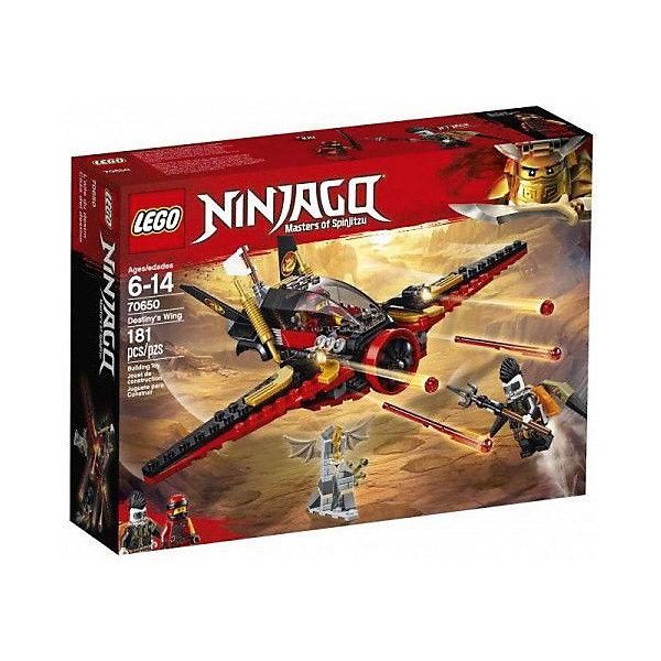 Конструктор LEGO Ninjago 70650: Крыло судьбыLEGO NINJAGO<br>Характеристики:<br><br>• возраст: от 6 лет;<br>• материал: пластик;<br>• серия Lego: Ninjago;<br>• количество деталей: 181;<br>• количество мини-фигурок: 2;<br>• вес упаковки: 320 гр.;<br>• размер упаковки: 6х26х19 см;<br>• страна бренда: Дания.<br><br>В наборе Lego Ninjago «Крыло судьбы» представлены мини-фигурки Кая и Джет Джека. Героям предстоит бой за меч драконьей кости. В ход идет холодное оружие, самолет и реактивный ранец. Победит сильнейший!<br><br>Особенности и функционал:<br><br>• кабина самолета открывается, внутрь помещается одна сини-фигурка;<br>• пропеллер самолета крутится;<br>• самолет стреляет стрелами и снарядами;<br>• другие части для сбора «Брони дракона» находятся в наборах Lego Ninjago: «Вестник бури», «Первый страж», «Стремительный странник», «Пещера драконов».<br><br>Конструктор «Крыло судьбы» можно купить в нашем интернет-магазине.<br>Ширина мм: 261; Глубина мм: 195; Высота мм: 68; Вес г: 312; Возраст от месяцев: 72; Возраст до месяцев: 144; Пол: Мужской; Возраст: Детский; SKU: 8005832;