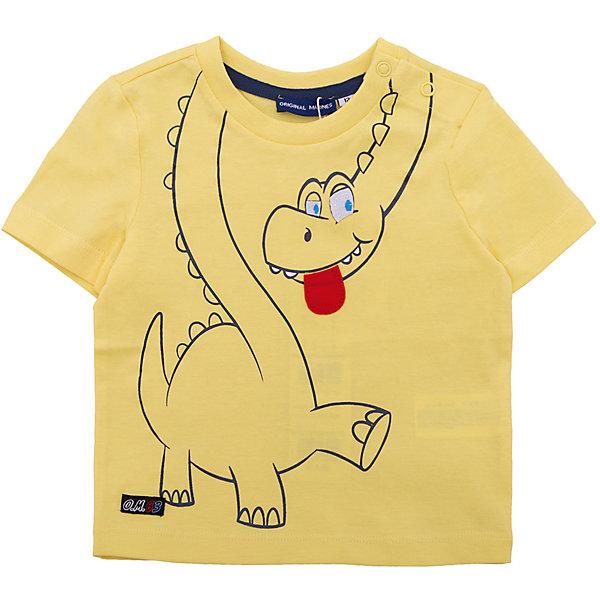 Футболка Original Marines для мальчикаФутболки, поло и топы<br>Характеристики товара:<br><br>• цвет: желтый<br>• состав ткани: 100% хлопок<br>• сезон: лето<br>• короткие рукава<br>• страна бренда: Италия<br><br>Хлопковая футболка для ребенка нравится детям благодаря стильному принту и мягкому материалу. Детская футболка дополнена мягкой резинкой - окантовкой ворота. Футболка для детей от итальянского бренда Original Marines - качественная вещь, созданная европейскими дизайнерами.<br><br>Футболку Original Marines (Ориджинал Маринс) для мальчика можно купить в нашем интернет-магазине.<br>Ширина мм: 199; Глубина мм: 10; Высота мм: 161; Вес г: 151; Цвет: желтый; Возраст от месяцев: 12; Возраст до месяцев: 15; Пол: Мужской; Возраст: Детский; Размер: 80,68/74,62/68,56/62,86; SKU: 8014882;