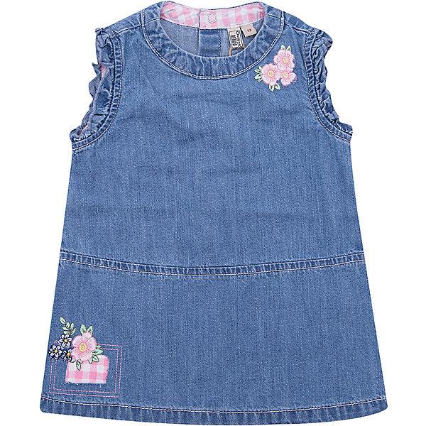 Платье джинсовое Original Marines для девочкиПлатья и сарафаны<br>Характеристики товара:<br><br>• цвет: синий<br>• состав ткани: 100% хлопок<br>• сезон: лето<br>• застежка: кнопки<br>• без рукавов<br>• страна бренда: Италия<br><br>Джинсовое платье для девочки позволит выглядеть аккуратно и модно. Прямой силуэт детского платья отлично подходит маленьким девочкам. Платье для ребенка сделано из качественного материала. Детская одежда от итальянского бренда Original Marines обеспечит ребенку комфорт.<br><br>Платье джинсовое Original Marines (Ориджинал Маринс) для девочки можно купить в нашем интернет-магазине.<br>Ширина мм: 236; Глубина мм: 16; Высота мм: 184; Вес г: 177; Цвет: синий; Возраст от месяцев: 12; Возраст до месяцев: 15; Пол: Женский; Возраст: Детский; Размер: 80,68/74,62/68,56/62,86; SKU: 8015149;
