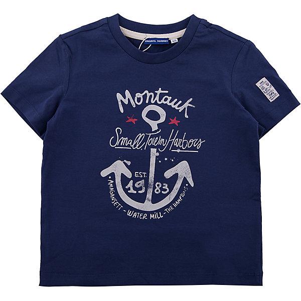 Футболка Original MarinesФутболки, поло и топы<br>Характеристики товара:<br><br>• цвет: синий<br>• состав ткани: 100% хлопок<br>• сезон: лето<br>• короткие рукава<br>• страна бренда: Италия<br><br>Хлопковая футболка для детей - от известного бренда Original Marines, поэтому она отличается высоким качеством и модным дизайном. Хлопковая футболка для ребенка украшена принтом, благодаря которому смотрится стильно и оригинально. Детская футболка сделана из дышащей хлопковой ткани. <br><br>Футболку Original Marines (Ориджинал Маринс) можно купить в нашем интернет-магазине.<br>Ширина мм: 199; Глубина мм: 10; Высота мм: 161; Вес г: 151; Цвет: темно-синий; Возраст от месяцев: 48; Возраст до месяцев: 60; Пол: Мужской; Возраст: Детский; Размер: 128/134,116/122,104/110,92/98,152/158,140/146; SKU: 8015479;
