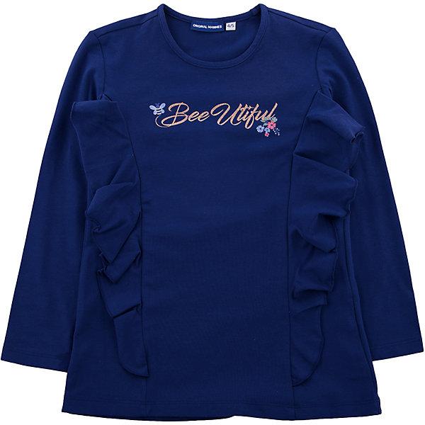 Футболка с длинным рукавом Original Marines для девочкиФутболки с длинным рукавом<br>Характеристики товара:<br><br>• цвет: синий<br>• состав ткани: 92% хлопок, 8% эластан<br>• сезон: демисезон<br>• длинные рукава<br>• страна бренда: Италия<br><br>Детская футболка с длинным рукавом создает комфортные условия и удобно сидит по фигуре. Синий детский лонгслив - отличный вариант практичной и модной базовой вещи для молодежных нарядов. Лонгслив для ребенка стильно смотрится, он декорирован оригинальными воланами.<br><br>Лонгслив Original Marines (Ориджинал Маринс) для девочки можно купить в нашем интернет-магазине.<br>Ширина мм: 190; Глубина мм: 74; Высота мм: 229; Вес г: 236; Цвет: темно-синий; Возраст от месяцев: 48; Возраст до месяцев: 60; Пол: Женский; Возраст: Детский; Размер: 104/110,92/98,152/158,140/146,128/134,116/122; SKU: 8016752;