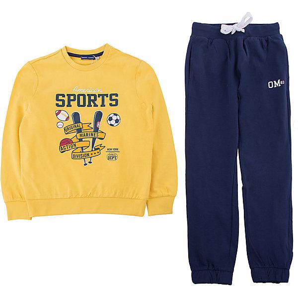 Спортивный костюм Original MarinesСпортивная одежда<br>Характеристики товара:<br><br>• цвет: желтый<br>• комплектация: толстовка, брюки<br>• состав ткани: 100% хлопок<br>• сезон: демисезон<br>• особенности модели: спортивный стиль<br>• пояс: резинка, шнурок<br>• длинные рукава<br>• страна бренда: Италия<br><br>Удобный спортивный костюм обеспечит ребенку комфорт благодаря продуманному крою. Спортивный костюм для ребенка сделан из натурального качественного материала. Детский спортивный костюм комфортно сидит, не вызывает неудобств. Европейский бренд Original Marines - это стильный продуманный дизайн и неизменно высокое качество товаров. <br><br>Спортивный костюм Original Marines (Ориджинал Маринс) можно купить в нашем интернет-магазине.<br>Ширина мм: 247; Глубина мм: 16; Высота мм: 140; Вес г: 225; Цвет: желтый; Возраст от месяцев: 48; Возраст до месяцев: 60; Пол: Унисекс; Возраст: Детский; Размер: 104/110,92/98,116/122; SKU: 8017580;
