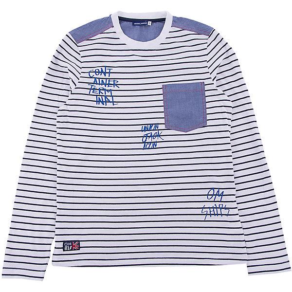 Футболка с длинным рукавом Original MarinesФутболки с длинным рукавом<br>Характеристики товара:<br><br>• цвет: белый в полоску<br>• состав ткани: 100% хлопок<br>• сезон: демисезон<br>• длинные рукава<br>• страна бренда: Италия<br><br>Лонгслив для ребенка - это универсальный вариант повседневной одежды, который должен быть в детском гардеробе. Такая детская футболка с длинным рукавом не создает дискомфорта, даже её носить весь день - она сделана из дышащего хлопка. Такой детский лонгслив - отличный вариант стильной базовой вещи для молодежных нарядов.<br><br>Лонгслив Original Marines (Ориджинал Маринс) можно купить в нашем интернет-магазине.<br>Ширина мм: 190; Глубина мм: 74; Высота мм: 229; Вес г: 236; Цвет: белый; Возраст от месяцев: 132; Возраст до месяцев: 144; Пол: Мужской; Возраст: Детский; Размер: 176,164,152; SKU: 8018493;