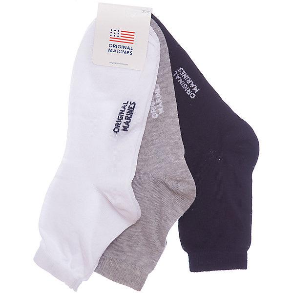 Носки 3 пары Original MarinesНоски<br>Характеристики товара:<br><br>• цвет: синий<br>• комплектация: 3 пары<br>• состав ткани: 75% хлопок, 25% полиэстер<br>• сезон: круглый год<br>• страна бренда: Италия<br><br>Качественные детские носки комфортно держатся на ноге благодаря мягкой резинке. Такие носки для ребенка сделаны из дышащего эластичного материала. Этот набор включает в себя три пары носков для детей от итальянского бренда Original Marines.<br><br>Носки 3 пары Original Marines (Ориджинал Маринс) можно купить в нашем интернет-магазине.<br>Ширина мм: 87; Глубина мм: 10; Высота мм: 105; Вес г: 115; Цвет: темно-синий; Возраст от месяцев: 132; Возраст до месяцев: 144; Пол: Унисекс; Возраст: Детский; Размер: 35,39,37; SKU: 8018897;