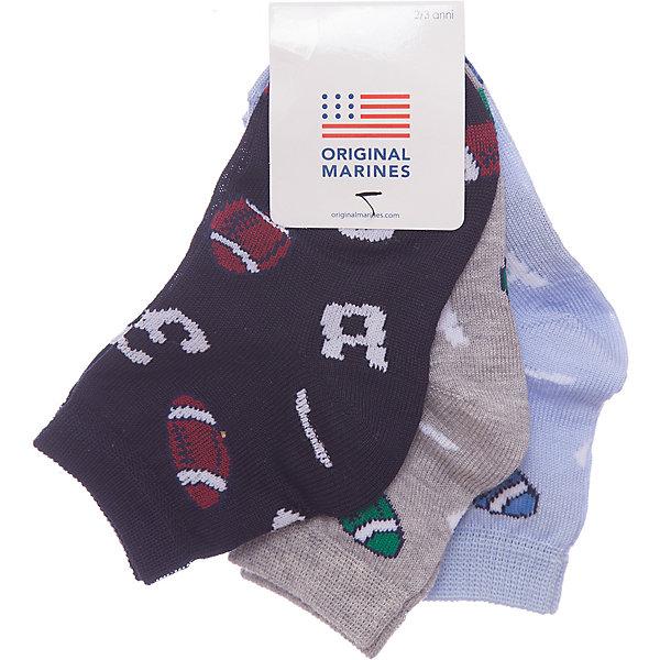 Носки 3 пары Original MarinesНоски<br>Характеристики товара:<br><br>• цвет: мульти<br>• комплектация: 3 пары<br>• состав ткани: 75% хлопок, 25% полиэстер<br>• сезон: круглый год<br>• страна бренда: Италия<br><br>Принтованные детские носки комфортно держатся на ноге благодаря мягкой резинке. Такие носки для ребенка сделаны из дышащего эластичного материала. Этот набор включает в себя три пары носков для детей от итальянского бренда Original Marines.<br><br>Носки 3 пары Original Marines (Ориджинал Маринс) можно купить в нашем интернет-магазине.<br>Ширина мм: 87; Глубина мм: 10; Высота мм: 105; Вес г: 115; Цвет: разноцветный; Возраст от месяцев: 21; Возраст до месяцев: 24; Пол: Мужской; Возраст: Детский; Размер: 24,33-35,31/32,29/30,35,28; SKU: 8018933;