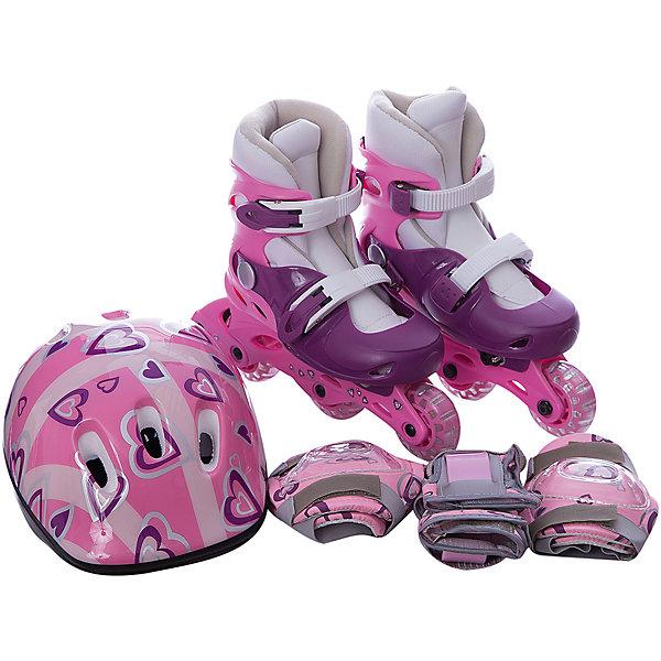 Набор: коньки Action ролик, защита, шлемРолики<br>Характеристики товара:<br><br>• комплектность: коньки роликовые, комплект защиты (колени, локти, запястья), шлем, рюкзачок<br>• тип коньков: раздвижные<br>• цвет: розовый/фиолетовый/белый<br>• размер: 31-34<br>• ботинок: мягкая основа в каркасе из жесткого полиуретана<br>• материал внешний: мягкая синтетическая ткань с легким ворсом, EVA<br>• материал внутренний: вельвет<br>• материал рамы: полиэтилен<br>• тип подшипника: 608Z<br>• количество колес: 3шт.<br>• материал колес: поливинилхлорид<br>• диаметр колеса: 64мм<br>• жесткость колеса: 82А<br>• тип фиксации: две клипсы с фиксаторами<br>• максимальный вес пользователя: 40 кг.<br>• упаковка: цветной тканевый рюкзачок с демонстрационным окошком<br>• бренд, страна: Action, Китай.<br><br>Приобретая готовый набор для катания на роликах, Вы не только экономите денежные средства, но также у Вас отпадает необходимость подбирать сосавляющие по цвету и стилю, ведь набор изначально выполнен в одной стилистике и прекрасно смотрится как целиком, так и по отдельности. Кроме того, Вам не придется искать сумку для переноски и хранения - набор уже поставляется в специальном рюкзачке!<br><br>Защитный шлем представлен в размере XS (48-51см) и изготовлен из качественных материалов. Имеются отверстия для вентиляции головы. В комплект входят элементы защиты локтей, коленей и запястий.<br><br>Роликовый набор Action PW-120P (коньки, защита, шлем) р. 31-34 выполнен в яркой комбинации розового, белого и фиолетового цветов, набор станет достойной покупкой  и отличным подарком для юного любителя активного отдыха.<br><br>Роликовый набор Action PW-120P (коньки, защита, шлем) для девочки можно приобрести в нашем интернет-магазине.<br>Ширина мм: 330; Глубина мм: 90; Высота мм: 370; Вес г: 2600; Цвет: розовый; Возраст от месяцев: 96; Возраст до месяцев: 120; Пол: Женский; Возраст: Детский; Размер: 31-34,35-38; SKU: 8025066;