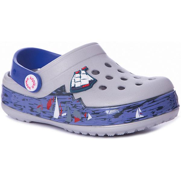 Сабо Kapika для мальчикаПляжная обувь<br>Характеристики товара:<br><br>• цвет: серый/синий/принт;<br>• состав: ЭВА;<br>• сезон: лето;<br>• температурный режим: от +20;<br>• модель: закрытые;<br>• светодиоды, яркий принт;<br>• застежка: съемный пяточный ремешок;<br>• непромокаемые;<br>• вентилируемые;<br>• рельефный рисунок подошвы;<br>• анатомические;<br>• торговая марка: Капика, Россия;<br><br>Сабо для мальчика  Kapika придутся по душе вашему ребенку, ведь они выполнены в яркой комбинации цветов с красивым морским принтом и контрастной подошвой. Изюминкой данной модели являются встроенные светодиоды. При ходьбе в подошве сверкают огоньки. Такие сабо не оставят никого равнодушным. <br><br>Модель полностью выполнена из полимерного материала. Съемный пяточный ремешок предназначен для фиксации стопы при ходьбе. Рифление на подошве гарантирует идеальное сцепление с любой поверхностью. <br><br>Пляжная обувь Kapika невероятно легкая, мягкая и удобная, быстро сохнет и не оставляет следов на любых поверхностях. Идеальная обувь для дачи и поездки на море.<br><br>Сабо с огоньками  Kapika (Капика) для мальчика можно купить в нашем интернет-магазине.<br>Ширина мм: 225; Глубина мм: 139; Высота мм: 112; Вес г: 290; Цвет: серый; Возраст от месяцев: 36; Возраст до месяцев: 48; Пол: Мужской; Возраст: Детский; Размер: 27,30,29,28; SKU: 8030025;