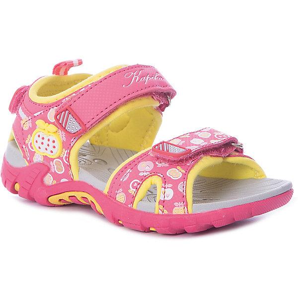 Босоножки Kapika для девочкиБосоножки<br>Характеристики товара:<br><br>• цвет: розовый/желтый;<br>• внешний материал: текстиль, эко кожа;<br>• внутренний материал: хлопок 80%, стелька - полимер ;<br>• подошва: ЭВА, ТЭП;<br>• сезон: лето;<br>• открытый носок, пятка;<br>• анатомическая подошва;<br>• на липучках;<br>• торговая марка: Капика, Россия;<br><br>Сандалии Kapika для девочки разработаны специально для детей. Модные и легкие, они помогут обеспечить ребенку комфорт и дополнить наряд. Вид застежки: 3 липы. Передние липы регулирую полноту модели. Задняя липа позволяет обувь четко зафиксировать на ноге ребенка.<br><br>Яркая комбинация цветов и принт позволяют обувать их под одежду и головные уборы различных расцветок. Сандали Kapika удобно сидят на ноге и красиво смотрятся. Отличный вариант для теплой погоды!<br><br>Сандалии открытые с открытой пяткой для девочки от Kapika можно купить в нашем интернет-магазине.<br>Ширина мм: 219; Глубина мм: 154; Высота мм: 121; Вес г: 343; Цвет: розовый; Возраст от месяцев: 24; Возраст до месяцев: 24; Пол: Женский; Возраст: Детский; Размер: 25,29,28,27,26; SKU: 8030054;