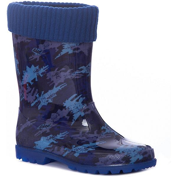 Резиновые сапоги Kapika для мальчикаРезиновые сапоги<br>Характеристики товара:<br><br>• цвет: синий/принт;<br>• внешний материал: ПВХ;<br>• внутренний материал: утепленный текстиль (хлопок 80%) ;<br>• подошва: ПВХ;<br>• сезон: демисезон;<br>• съемный валеночек;<br>• особенности модели: непромокаемые, с утеплителем;<br>• гибкая амортизирующая нескользящая подошва;<br>• тип застежки: без застежки;<br>• торговая марка: Капика, Россия;<br><br>Утепленные резиновые сапоги Kapika для мальчика выполнены из качественных материалов с утеплителем на основе мягкого хлопка.  Ноги ребенка всегда останутся сухими и теплыми. Сапожки очень легкие. КВнутри сапожка утепленная подкладка, которая вынимается.<br>Сапожки можно носить как с вложенным валеночком, так и без него. Рельефная подошва предотвращает скольжение. Яркие, оригинальные резиновые сапожки с рисунком для детей.<br><br>Утепленные резиновые сапоги Kapika для мальчика - отличный вариант для прогулок в дождливую прохладную погоду. Резиновые сапоги Kapika очень легко отмываются от грязи прямо под струей воды.<br><br>Утепленные резиновые сапоги Kapika (Капика) для мальчика можно купить в нашем интернет-магазине.<br>Ширина мм: 237; Глубина мм: 180; Высота мм: 152; Вес г: 438; Цвет: синий; Возраст от месяцев: 84; Возраст до месяцев: 96; Пол: Мужской; Возраст: Детский; Размер: 31,35,34,33,32; SKU: 8030129;