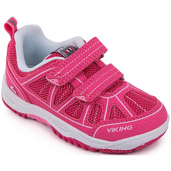 Кроссовки Hugin Viking для девочкиКроссовки<br>Характеристики товара:<br><br>• цвет: розовый;<br>• внешний материал: 60% текстиль, 40% экокожа;<br>• внутренний материал: текстиль;<br>• стелька: текстиль;<br>• подошва: резина, ЭВА;<br>• сезон: демисезон;<br>• температурный режим: от +10С;<br>• застёжка: два ремешка на липучке;<br>• вынимающаяся анатомическая стелька для равномерного распределения нагрузки на стопу;<br>• лёгкая подошва EVA обеспечивает дополнительную амортизацию;<br>• резиновые противоскользящие вставки для повышения износостойкости подошвы;<br>• поддерживающая пятка для лучшей фиксации ноги;<br>• система липучек для легкого самостоятельного надевания и фиксации на ноге;<br>• мягкий валик вокруг щиколотки препятствует натиранию и обеспечивает максимальный комфорт при носке;<br>• усиленный защищённый мыс;<br>• язычок на пятке для удобства надевания;<br>• можно стирать в машинке при температуре 30С;<br>• страна бренда: Норвегия.<br><br>Дышащие кроссовки позволят ногам ребёнка не перегреваться. Застёжки-липучки надёжно держат обувь на ногах и позволяют быстро одевать и снимать её. Лёгкая подошва EVA позволяет долго не уставать и придаёт отличное сцепление с поверхностью. Можно стирать в машинке при 30°.<br><br>Кроссовки Viking (Викинг) можно купить в нашем интернет-магазине.<br>Ширина мм: 262; Глубина мм: 176; Высота мм: 97; Вес г: 427; Цвет: розовый; Возраст от месяцев: 60; Возраст до месяцев: 72; Пол: Женский; Возраст: Детский; Размер: 29,28,27,26,25,24,23,22,21,20,35,34,33,32,31,30; SKU: 8037239;