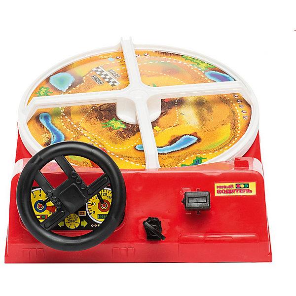 Игра настольная Юный водительНастольные игры для всей семьи<br>Характеристики:<br><br>• возраст: от 6 лет<br>• комплектация: игрушка с игровым полем, рулем и приборной панелью; машинка с магнитом, ключ зажигания.<br>• батарейки: 2 шт. D / LR20 1,5 В<br>• наличие батареек: не входят в комплект<br>• материал: пластик, металл<br>• упаковка: картонная коробка<br>• размер упаковки: 44,3х34,5х11,5 см.<br>• вес: 1,6 кг.<br>• страна бренда: Россия.<br><br>Настольная игра «Юный водитель» увлечет ребенка на долгое время. Она развивает внимательность и скорость реакции.<br><br>Цель игры - управлять с машинкой на поле, объезжая препятствия и следя за дорогой.<br><br>Машинка крепится к полю с помощью магнитика. Повернув ключ зажигания, и выбрав одну из трех скоростей, ребенок приводит в движение игровой круг - гоночную трассу. Круг начинает крутиться против часовой стрелки. Управление машинкой осуществляется при помощи руля, а скорости переключаются специальной рукояткой на приборной панели.<br><br>Сложность игры заключается в том, что необходимо соблюдать нарисованный на поле маршрут и аккуратно проезжать под мостами, построенными на трассе. Если машинка врезается в мост, игра прерывается, и машинку необходимо снова фиксировать на поле. Чтобы ребенку было проще проходить маршрут, проемы под мостами можно не подпирать опорами, оставляя место для маневрирования.<br><br>Игра изготовлена из прочного высококачественного пластика, соответствует российским требованиям безопасности.<br><br>Настольную игру «Юный водитель», 44,3*34,5*11,5 см (Россия) можно купить в нашем интернет-магазине.<br>Ширина мм: 443; Глубина мм: 345; Высота мм: 115; Вес г: 1600; Возраст от месяцев: 72; Возраст до месяцев: 120; Пол: Унисекс; Возраст: Детский; SKU: 8042558;
