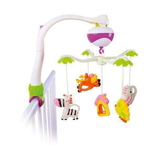 Музыкальная подвеска  Жирафики Мобиль Зоопарк, 2 режимаИгрушки для новорожденных<br>Музыкальная подвеска предназначена для размещения над детской кроваткой. Мобиль — это одна из первых игрушек для новорожденных и уникальный тренажер для развития визуального восприятия и слуховых ощущений. Забавные зверюшки, прикрепленные к мобилю, поворачиваются по кругу, как карусели. Пытаясь следить за ними глазами, малыш учится фокусировать взгляд на объекте. Игрушки можно снимать и давать играть с ними ребенку отдельно. Изделие работает в двух режимах: кручение с музыкой и кручение без музыки. Для включения музыки переведите переключатель в положение ON, для выключения — в положение OFF. Игрушка работает от 3-х батареек типа АА 1,5 V (в комплект не входят). Размер: 39 см. Изделие изготовлено из пластика. Рекомендованный возраст: 0 мес. +<br>Ширина мм: 200; Глубина мм: 90; Высота мм: 320; Вес г: 860; Возраст от месяцев: -2147483648; Возраст до месяцев: 2147483647; Пол: Унисекс; Возраст: Детский; SKU: 8042774;