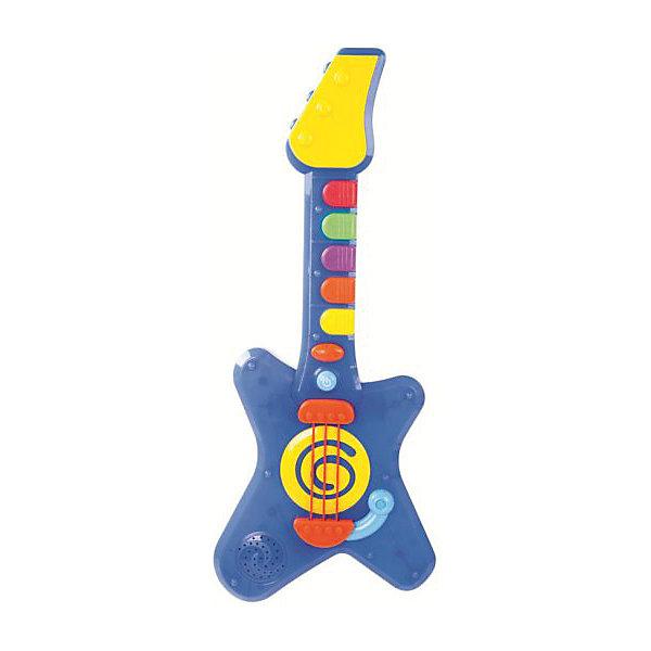 Музыкальная игрушка Жирафики Крутая гитара со светом и звукамиГитары<br>С этой гитарой малыш станет настоящим рок-музыкантом! Нажимая на клавиши, рычаг и струны Электрогитары ребёнок сможет создавать свои собственные рок-композиции, соединяя крутые гитарные риффы с базовыми ритмами рока. Мигание разноцветных лампочек на корпусе гитары во время игры создаст атмосферу настоящего рок-концерта! Громкость музыки можно регулировать кнопочками + и -. Игрушка работает от 3-х батареек типа АА на 1,5 V. Элементы питания входят в комплект. Размер игрушки: 43х17х3 см. Изделие изготовлено из пластика. Рекомендованный возраст: 9 мес. +<br>Ширина мм: 465; Глубина мм: 65; Высота мм: 190; Вес г: 630; Возраст от месяцев: 9; Возраст до месяцев: 2147483647; Пол: Унисекс; Возраст: Детский; SKU: 8042788;
