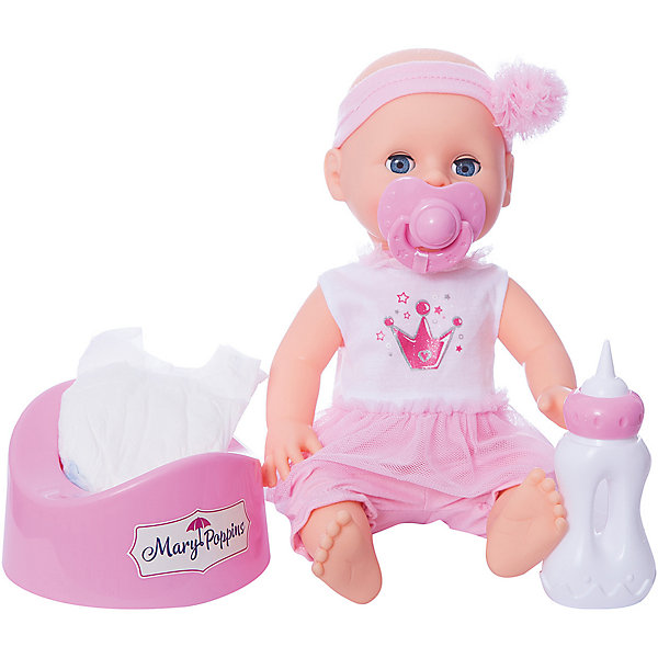 Кукла Mary Poppins Элли. Позаботься обо мне, серия Корона, 33 смКуклы<br>Характеристики:<br><br>• возраст: от 3 лет;<br>• материал: пластик, текстиль;<br>• комплектация: кукла, бутылочка, соска-пустышка, горшок, подгузник;<br>• высота куклы: 33 см;<br>• размер: 23х14х35 см;<br>• вес: 820 гр;<br>• бренд: Mary Poppins.<br><br> <br>Кукла Mary Poppins «Элли. Позаботься обо мне», серия Корона, 33 см  очень похожа на настоящего малыша! Кукла умеет пить и писать. В комплект входят аксессуары - бутылочка, соска-пустышка, горшок и подгузник. Высота куклы составляет 33 см.<br><br>Куклу Mary Poppins «Элли. Позаботься обо мне», серия Корона, 33 см можно купить в нашем интернет-магазине.<br>Ширина мм: 230; Глубина мм: 140; Высота мм: 350; Вес г: 820; Возраст от месяцев: 36; Возраст до месяцев: 2147483647; Пол: Унисекс; Возраст: Детский; SKU: 8042802;