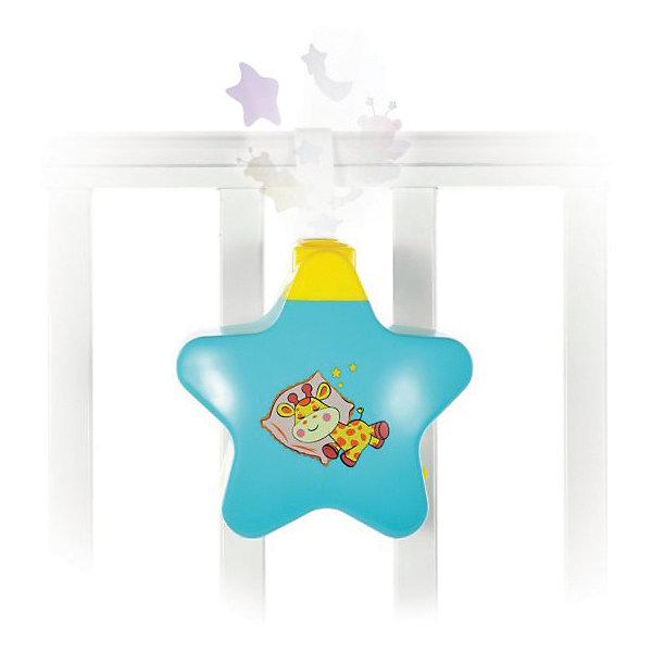 Ночник Жирафики Звездочка с проекторомИгрушки для новорожденных<br>В свете проектора, отраженном на потолке, малыш увидит милых персонажей, медленно плывущих по кругу. Это небольшое волшебное представление успокоит маленького непоседу и поможет ему заснуть. Ночник работает в трех режимах: «музыка без света», «свет без музыки» и «свет с музыкой». Работает от 3-х батареек АА на 1,5 V (в комплект не входят). Изделие изготовлено из пластика. Размер ночника: 14х6х14 см. Рекомендованный возраст: 0 мес.+<br>Ширина мм: 140; Глубина мм: 60; Высота мм: 140; Вес г: 330; Возраст от месяцев: -2147483648; Возраст до месяцев: 2147483647; Пол: Унисекс; Возраст: Детский; SKU: 8042816;
