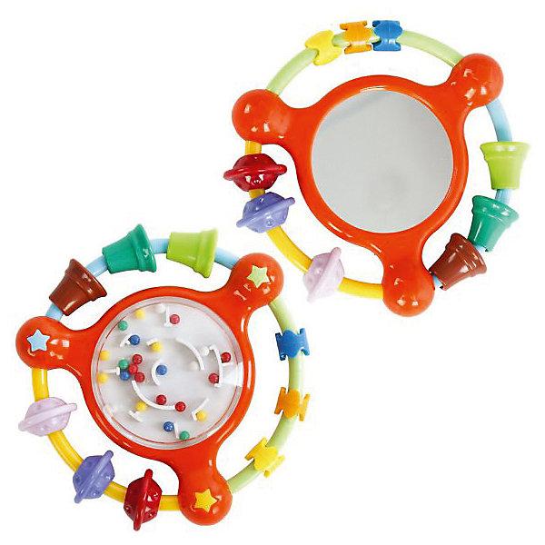 Погремушка-тренажер Жирафики ЛабиринтИгрушки для новорожденных<br>Эта игрушка одновременно сочетает в себе несколько функций. Если потрясти игрушкой в воздухе, она будет весело греметь. На дугах погремушки — разноцветные бусины разной формы, малыш может их рассматривать и перебирать своими маленькими пальчиками. С одной стороны погремушки — зеркальце с безопасным покрытием, в нем малыш может увидеть свое отражение. С другой стороны игрушки — стилизация под головоломку в виде круглого лабиринта. Малышу будет интересно наблюдать за шариками, движущимися по лабиринту и меняющими свое направление, в зависимости от действий ребенка. Размер: 10 см. Изделие изготовлено из пластмассы. Рекомендованный возраст: 6 мес. +<br>Ширина мм: 150; Глубина мм: 20; Высота мм: 200; Вес г: 80; Возраст от месяцев: 6; Возраст до месяцев: 2147483647; Пол: Унисекс; Возраст: Детский; SKU: 8042818;