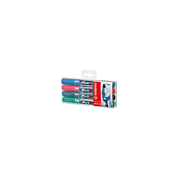 Набор перманентных маркеров Stabilo Mark-4-All 1,5-2,5 мм, 4 штПисьменные принадлежности<br>Характеристики:<br><br>• перманентные;<br>• цвет: синий, красный, зеленый, черный;<br>• в комплекте 4 шт.;<br>• наконечник - круглый;<br>• ширина линии - 1,5 -2,5 мм;<br>• предназначение - для любых поверхностей;<br>• упаковка: пластиковый футляр с европодвесом;<br>• размер упаковки: 14х6х1,8 см;<br>• вес: 70 г.;<br>• бренд, страна: STABILO, Германия.<br><br>Набор перманентных маркеров STABILO MARK с несмываемыми чернилами идеально подходит для рисования и маркировки практически на любых поверхностях. Круглый наконечник позволяет проводить линии толщиной от 1,5 до 2,5 мм. Надписи мгновенно высыхают и не размазываются. Высокая морозостойкость, светостойкость и влагостойкость чернил. Чернила на спиртовой основе обладают нейтральным запахом.<br><br>Набор цветных маркеров - отличный помощник для развития творческих способнеостей, мелкой моторики, фантазии, усидчивости и других полезных навыков.<br><br>Набор перманентных маркеров STABILO MARK, 4 цвета, можно купить в нашем интернет-магазине.<br>Ширина мм: 16; Глубина мм: 140; Высота мм: 60; Вес г: 70; Цвет: разноцветный; Возраст от месяцев: 36; Возраст до месяцев: 2147483647; Пол: Унисекс; Возраст: Детский; SKU: 8058279;